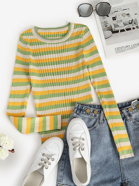 Ribbed Striped Fitted Sweater - اخضر فاتح حجم واحد