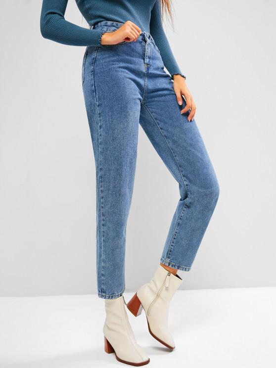 Jeans de Alta Cintura de Lavagem Mista - Azul claro XL