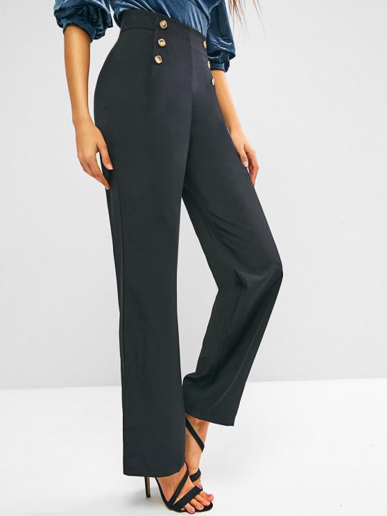 trendy Sailor Buttoned High Waisted Straight Pants - BLACK S