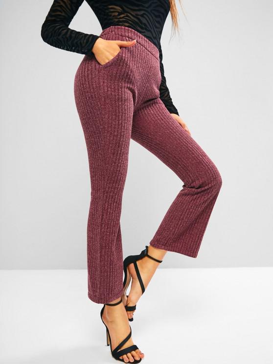 women Knitted High Waisted Pocket Boot Cut Pants - DEEP RED M