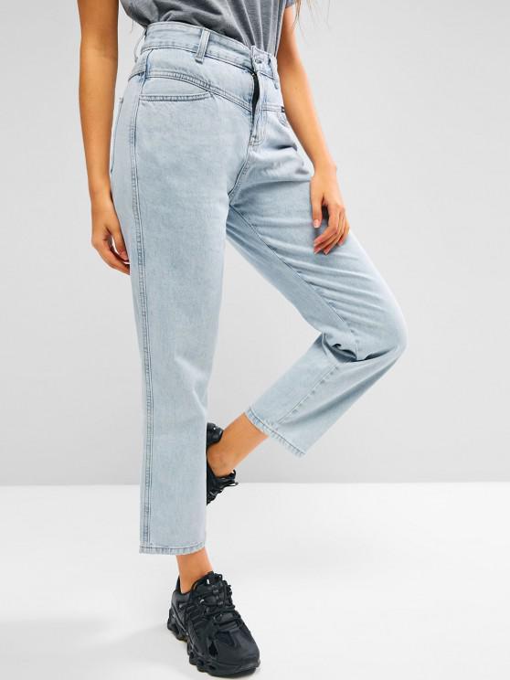 Straight Bleach Wash Jeans - أزرق فاتح M