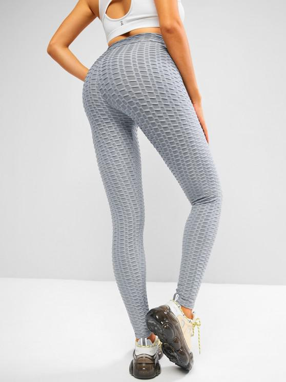 chic ZAFUL Textured Overlap Waist High Rise Gym Leggings - LIGHT GRAY XL