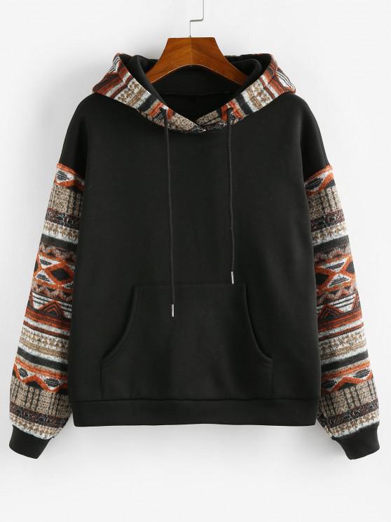 fashion ZAFUL Ethnic Seamless Pattern Drop Shoulder Fleece Lined Hoodie - BLACK S