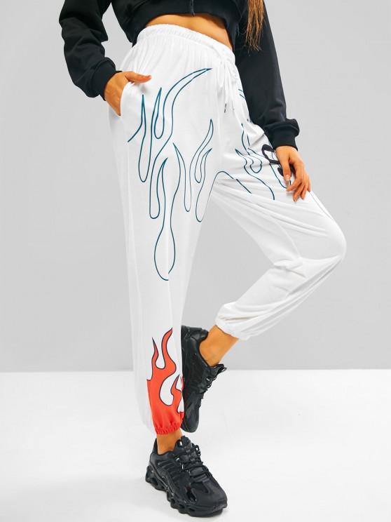 Pantalones Trotar Estampado Flama Bolsillo Cordón - Blanco S