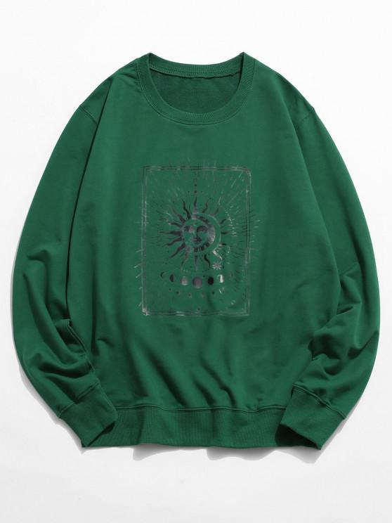 chic Sun and Moon Graphic Crew Neck Sweatshirt - DEEP GREEN 2XL
