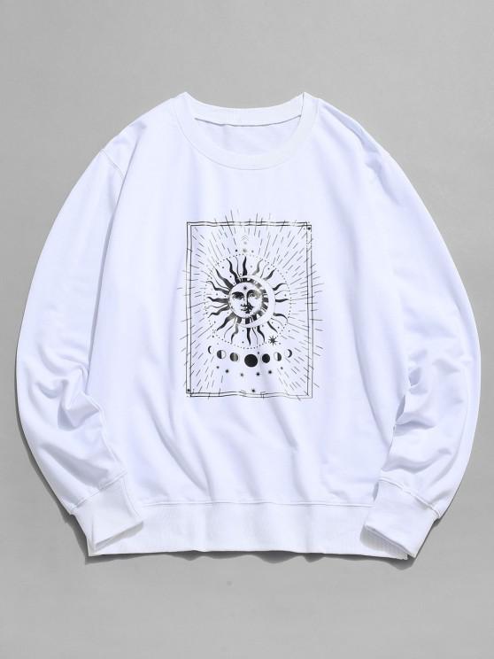 Sweat-shirt Graphique Lune et Soleil à Col Rond - Blanc S