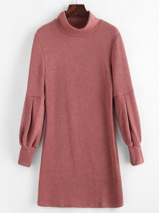 fashion Lantern Sleeve High Neck Sweater Fitted Dress - PINK S