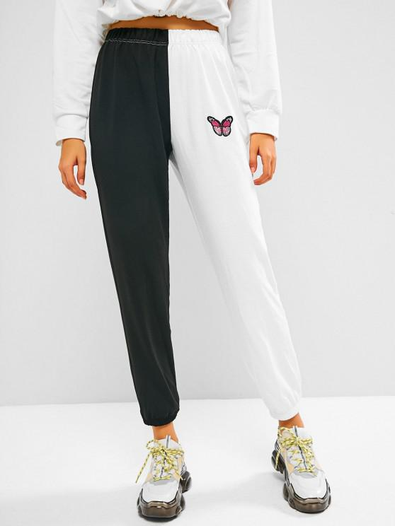 fancy ZAFUL Two Tone Bicolor Butterfly Patched Sweatpants - BLACK M