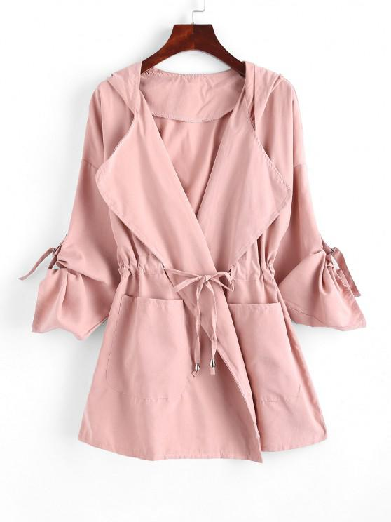 women Drawstring Hooded Rolled Sleeve Pocket Coat - PINK L