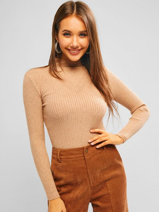 outfit Ribbed Pointelle Knit High Neck Knitwear - LIGHT KHAKI ONE SIZE