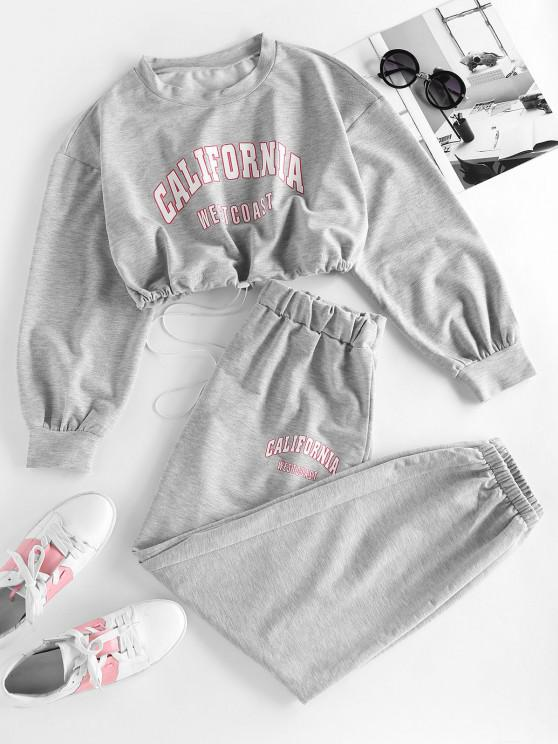 lady ZAFUL Letter Drop Shoulder Toggle Drawstring Joggers Set - GRAY M
