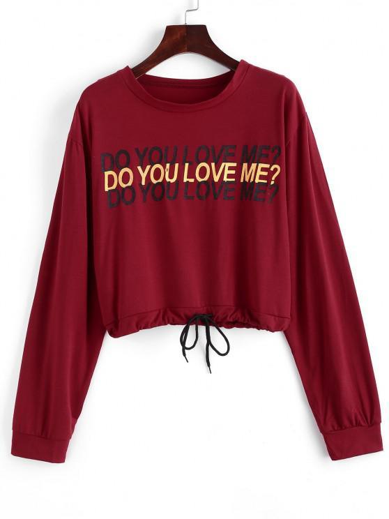 shops Drawstring Do You Love Me Graphic Short Sweatshirt - RED XL