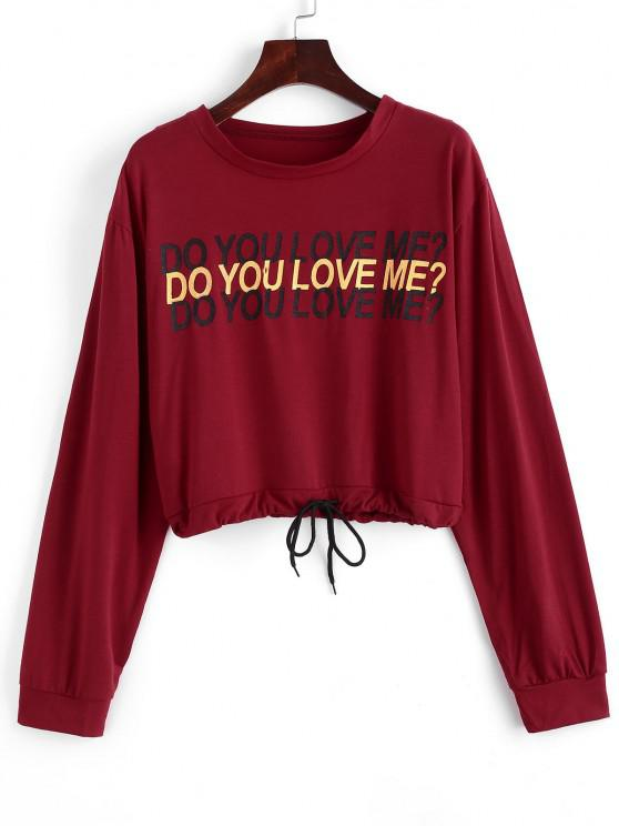 Drawstring Do You Love Me Graphic Short Sweatshirt - أحمر S