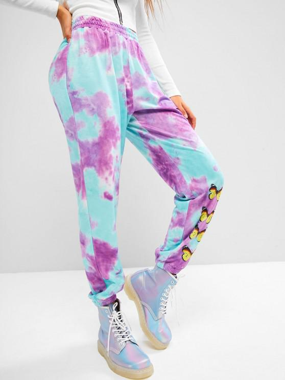 lady High Waisted Tie Dye Butterfly Jogger Sweatpants - LIGHT PURPLE L
