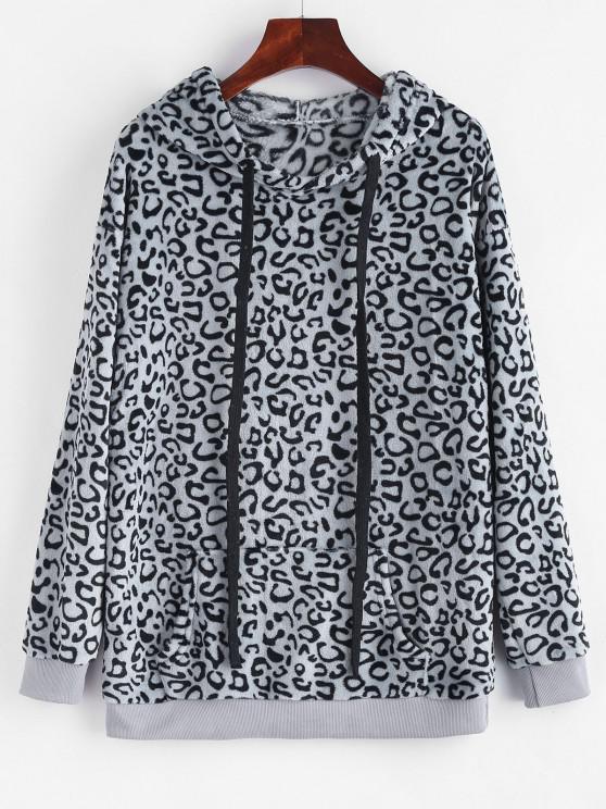 Leopard Kangaroo Pocket Plush Faux Fur Hoodie - اللون الرمادي L