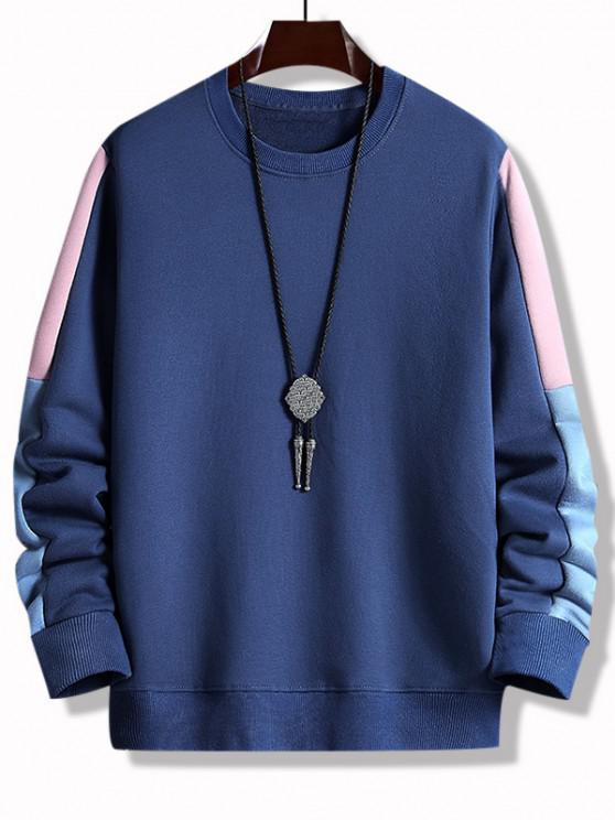Colorblock Panel Crew Neck Sweatshirt - ازرق غامق M