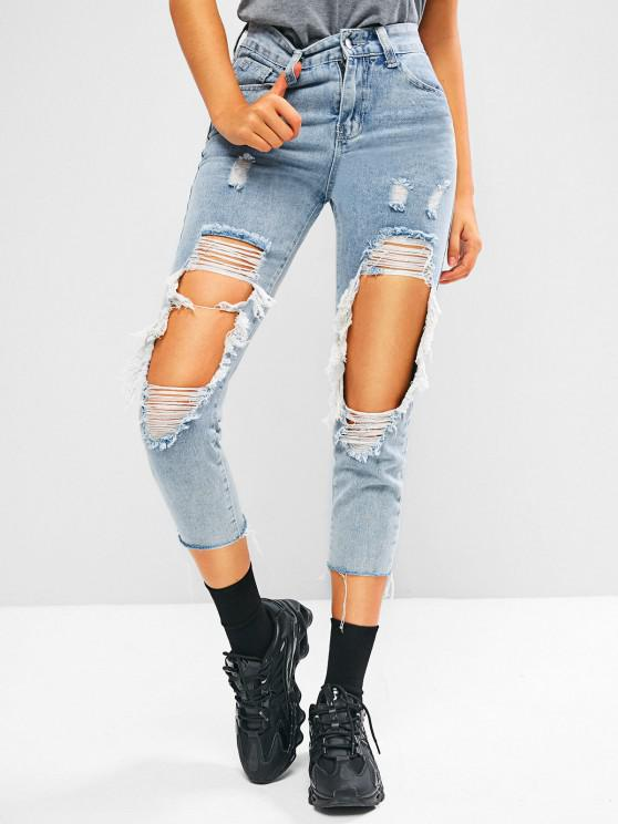 sale Ripped Cut Out Raw Hem Light Wash Jeans - LIGHT BLUE M