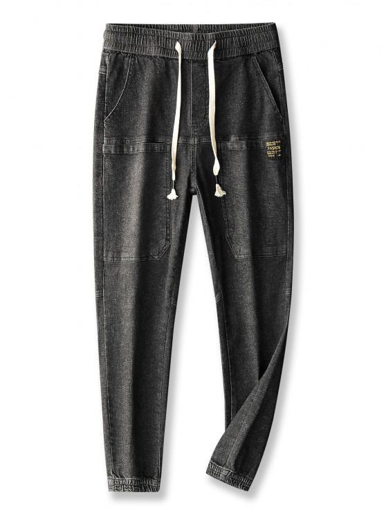 Pocket Patch Applique Drawstring Jogger Jeans - الجرافيت الأسود 30