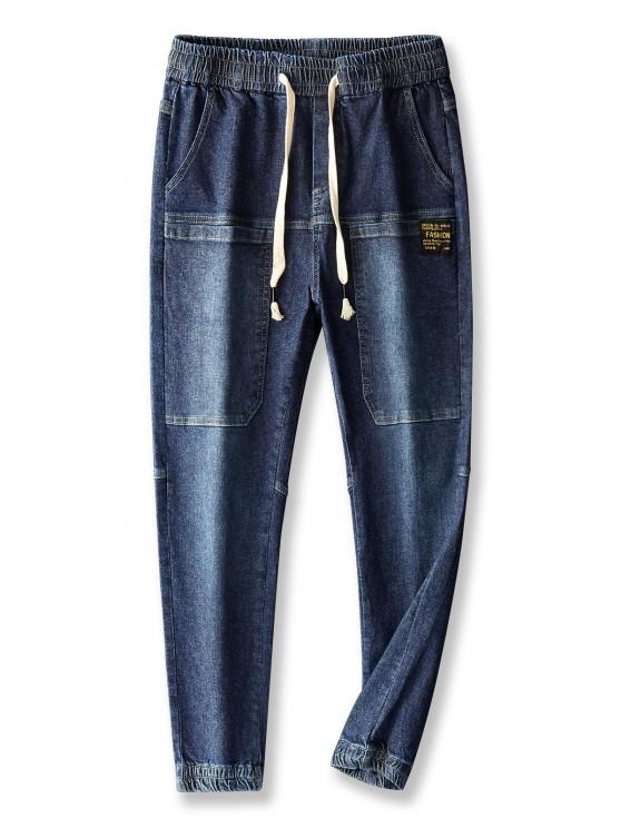 chic Pocket Patch Applique Drawstring Jogger Jeans - LAPIS BLUE 30