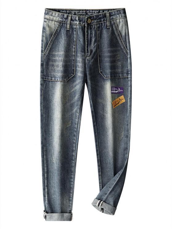 Long Scratch Patchwork Straight Jeans - ازرق رمادي 36