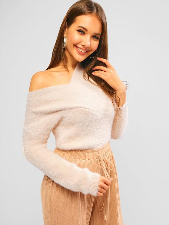 V Neck Fuzzy Mohair Sweater - مشمش حجم واحد