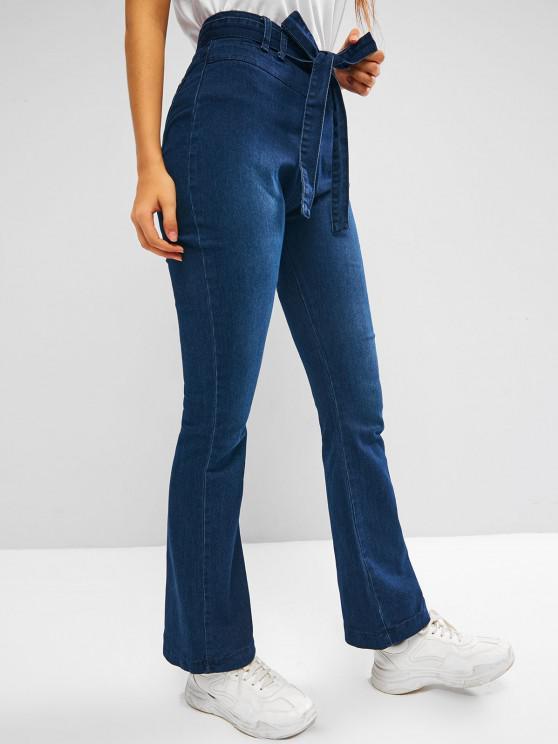 Jeans de Lavagem Escura com Cinto Alto e Cinto - Azul Escuro L