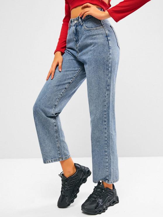 womens Plain Straight Jeans - BLUE S