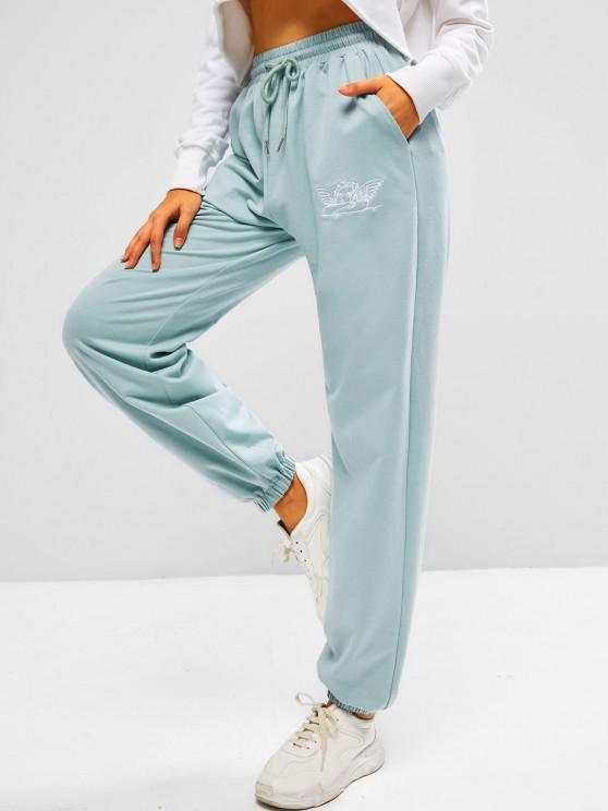 ZAFUL Pantalones Deportivos Arte de Piel Sintética con Bordado de Ángel - Lirio Azul Claro XL