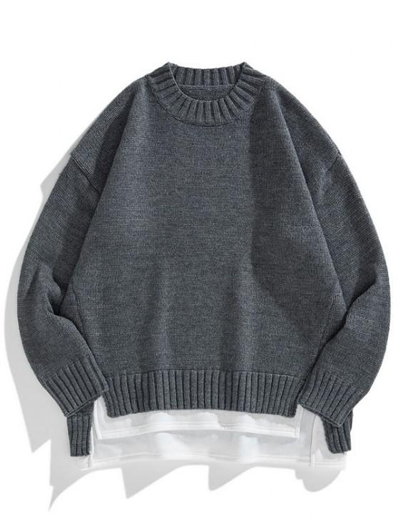 online Crew Neck Colorblock Extender Sweater - CARBON GRAY 2XL