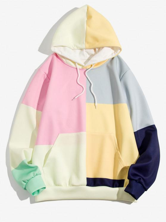 affordable Colorblock Patch Panel Kangaroo Pocket Hoodie - SUN YELLOW 2XL