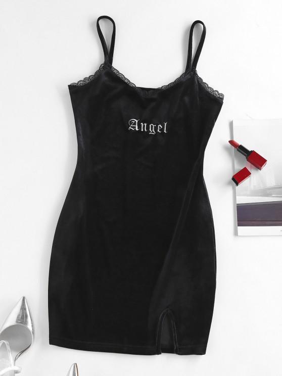 fashion ZAFUL Velour Embroidery Letter Slip Dress - BLACK L