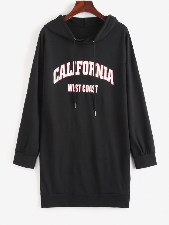 Drop Shoulder Graphic Shift Hoodie Dress - أسود M