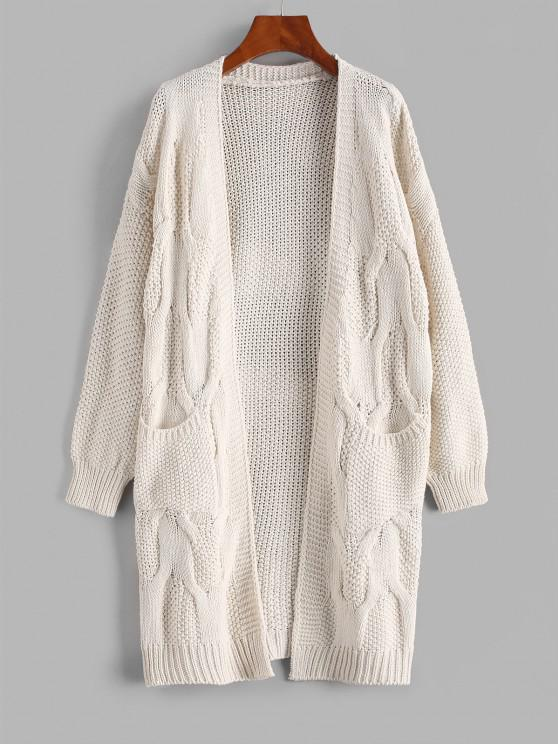 women ZAFUL Pockets Chunky Open Front Cardigan - WARM WHITE ONE SIZE