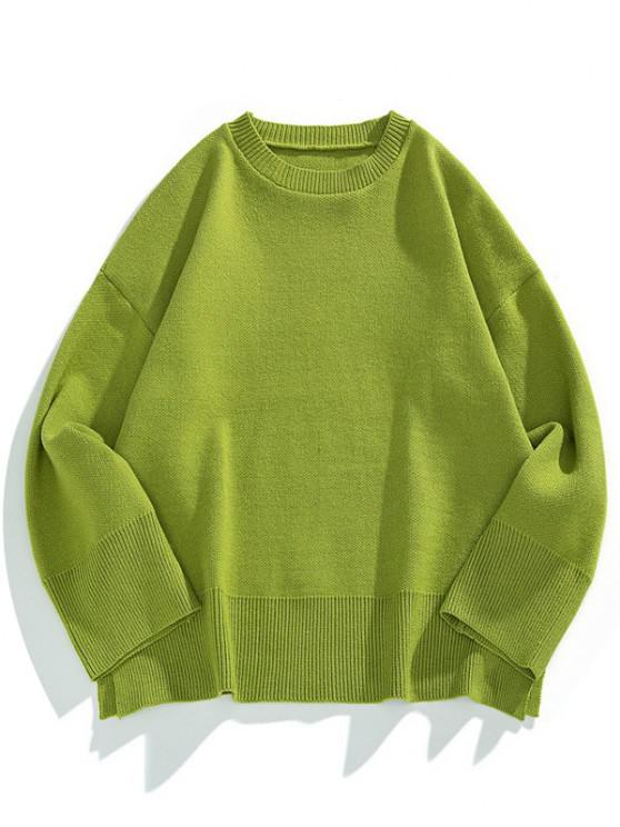 trendy Drop Shoulder Solid Side Slit Knit Sweater - FERN GREEN 2XL