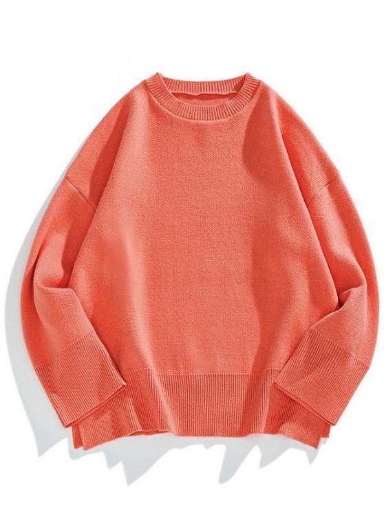 Drop Shoulder Solid Side Slit Knit Sweater - البطيخ الوردي L