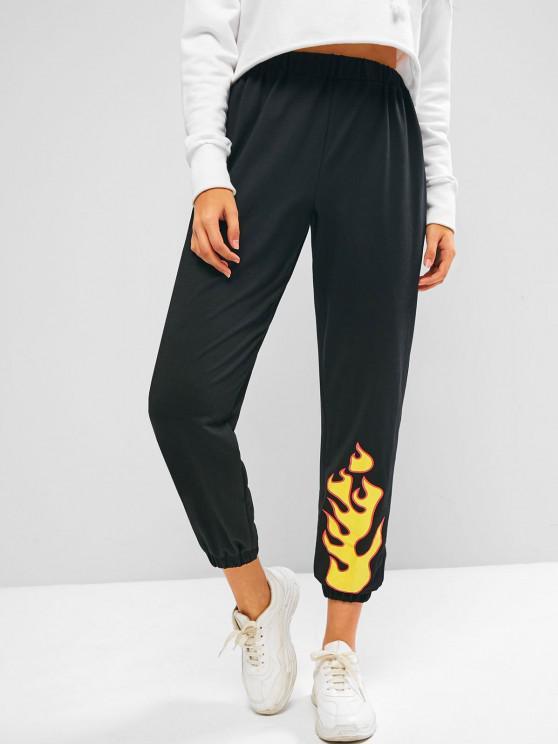 ZAFUL Flame Pattern Pull On Jogger Sweatpants - أسود XL