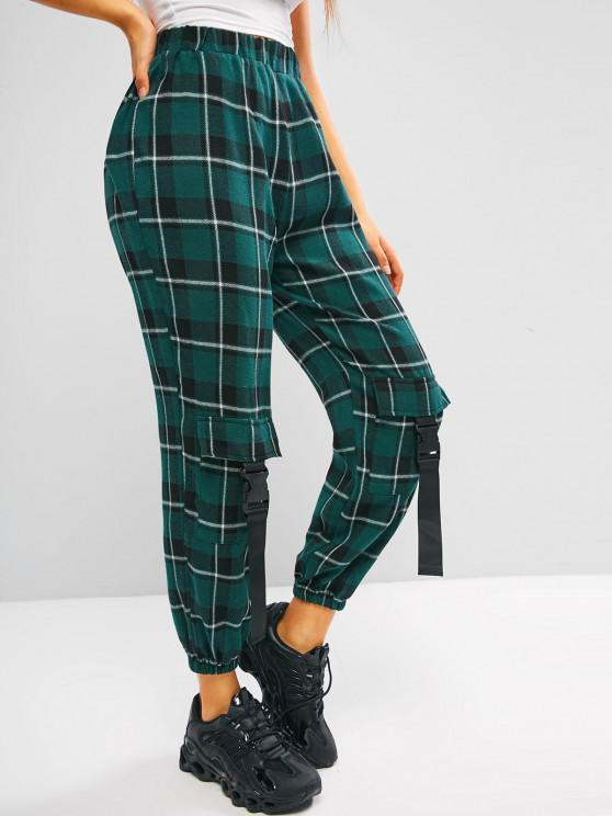 ZAFUL Plaid Flannel Buckle Pocket Beam Feet Pants - ديب غرين S