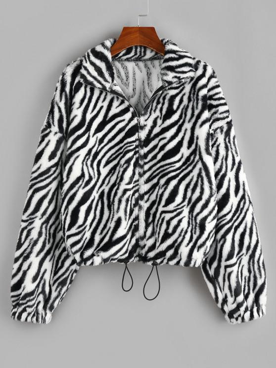 ZAFUL Animal Striped Faux Fur Drop Shoulder Jacket - متعددة-A S