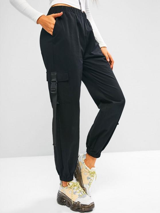 best ZAFUL Buckle Pocket Beam Feet Cargo Pants - BLACK M