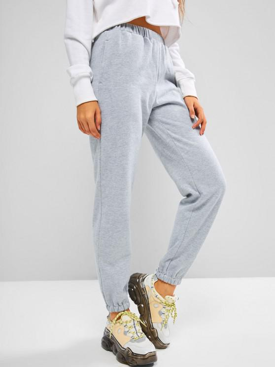 fashion ZAFUL Fleece Lined Beam Feet Pull On Sweatpants - LIGHT GRAY XL