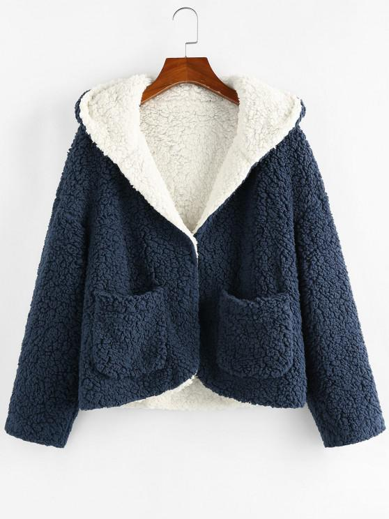 outfits ZAFUL Hooded Reversible Pocket Open Teddy Coat - MULTI-A S