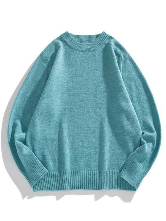Einfarbiger Rundhalsausschnitt Raglan Ärmel Pullover - Blauer Efeu M
