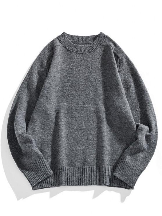 Camisa Suéter de Manga Raglan com Gola Redonda Sólido - Cinza de Carbono 2XL