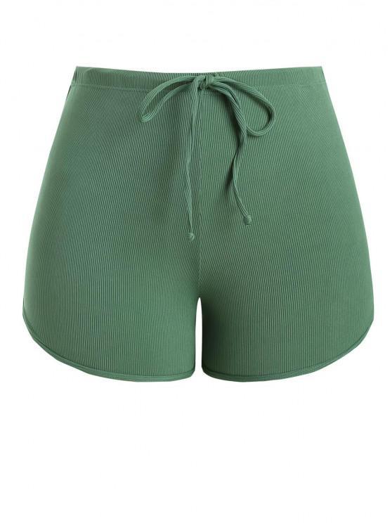 womens ZAFUL Plus Size Ribbed Drawstring Swim Boyshorts - GREEN XL