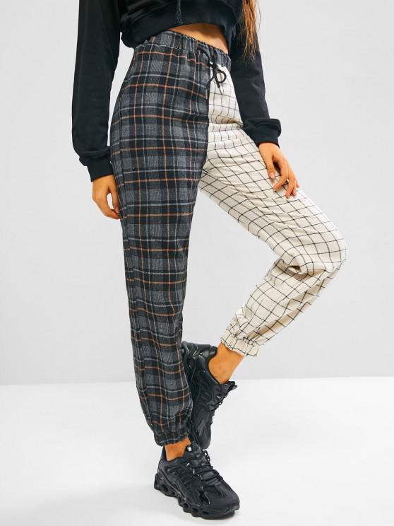 women Plaid Colorblock Drawstring Elastic Hem Pants - BLACK S