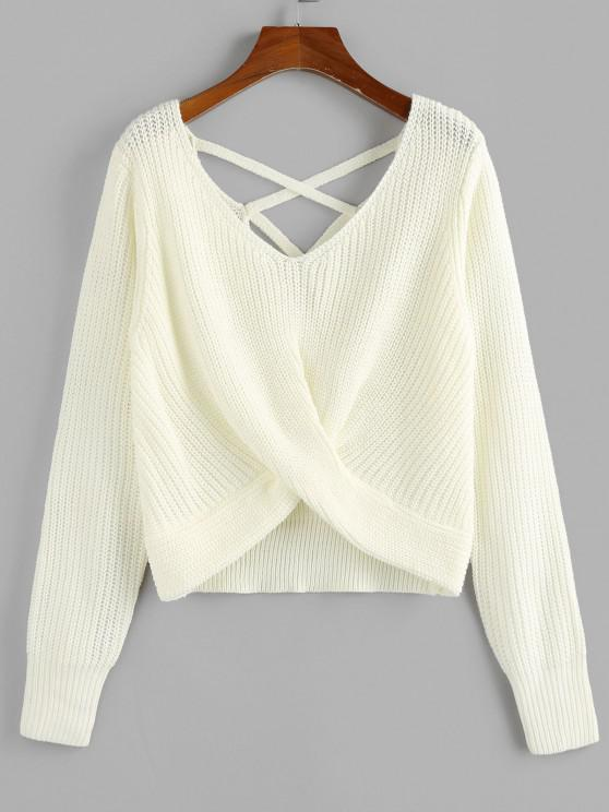outfit ZAFUL Criss Cross Twisted Plain Sweater - WHITE L