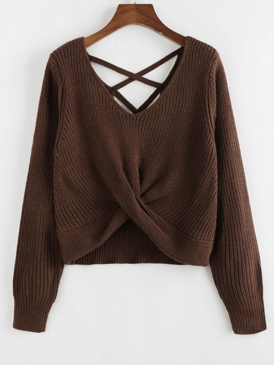 best ZAFUL Criss Cross Twisted Plain Sweater - DEEP BROWN M