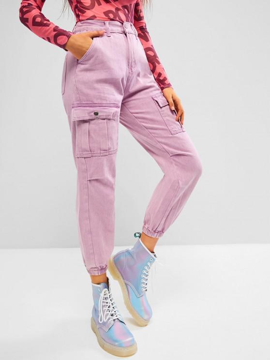 Jogger Jeans de Cargo de Color Sólido - Rosa claro L