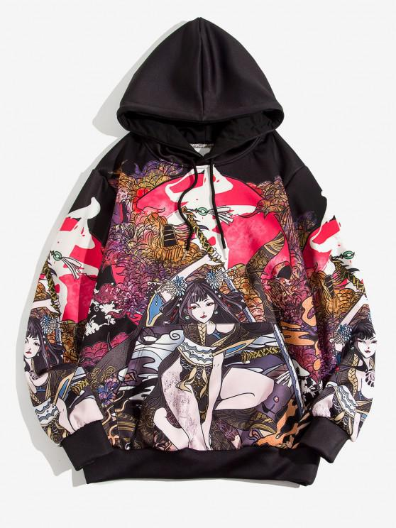 Geisha Samurai Pattern Japan Style Hoodie - أسود 2XL