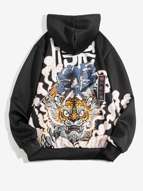 womens Geisha Samurai Tiger Pattern Japan Style Hoodie - BLACK L